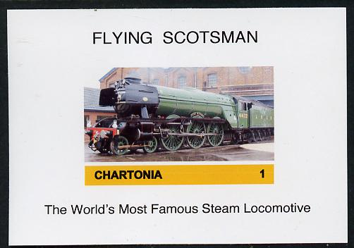 Chartonia (Fantasy) Flying Scotsman - The World's Most Famous Steam Locomotive imperf deluxe sheet on glossy card unmounted mint