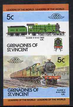 St Vincent - Grenadines 1984 Locomotives #2 (Leaders of the World) 5c (4-4-2 Class V) se-tenant proof pair as issued but imperforate (as SG 313a) unmounted mint