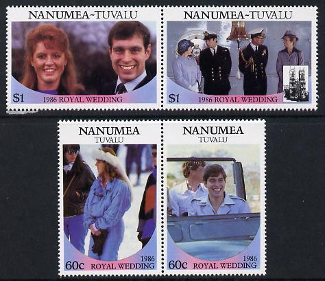Tuvalu - Nanumea 1986 Royal Wedding (Andrew & Fergie) set of 4 (2 se-tenant pairs) unmounted mint