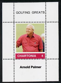Chartonia (Fantasy) Golfing Greats - Arnold Palmer perf deluxe sheet on thin glossy card unmounted mint
