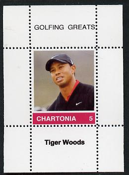 Chartonia (Fantasy) Golfing Greats - Tiger Woods perf deluxe sheet on thin glossy card unmounted mint, stamps on sport, stamps on golf