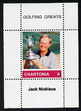 Chartonia (Fantasy) Golfing Greats - Jack Nicklaus perf deluxe sheet on thin glossy card unmounted mint