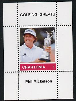 Chartonia (Fantasy) Golfing Greats - Phil Mickelson perf deluxe sheet on thin glossy card unmounted mint