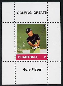 Chartonia (Fantasy) Golfing Greats - Gary Player perf deluxe sheet on thin glossy card unmounted mint