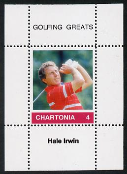 Chartonia (Fantasy) Golfing Greats - Hale Irwin perf deluxe sheet on thin glossy card unmounted mint