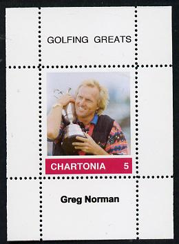 Chartonia (Fantasy) Golfing Greats - Greg Norman perf deluxe sheet on thin glossy card unmounted mint