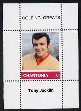 Chartonia (Fantasy) Golfing Greats - Tony Jacklin perf deluxe sheet on thin glossy card unmounted mint