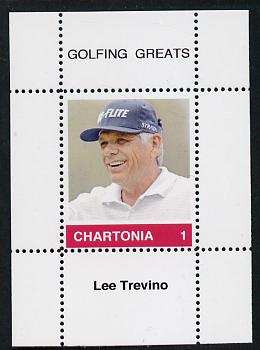 Chartonia (Fantasy) Golfing Greats - Lee Trevino perf deluxe sheet on thin glossy card unmounted mint