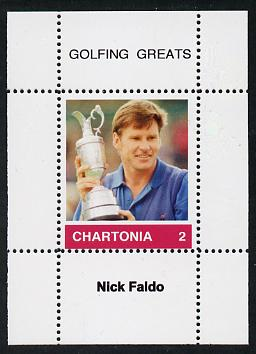 Chartonia (Fantasy) Golfing Greats - Nick Faldo perf deluxe sheet on thin glossy card unmounted mint