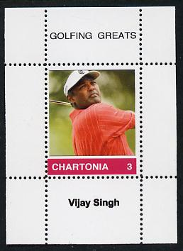 Chartonia (Fantasy) Golfing Greats - Vijay Singh perf deluxe sheet on thin glossy card unmounted mint