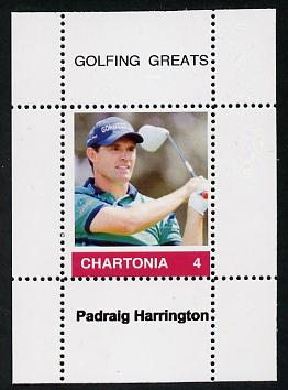 Chartonia (Fantasy) Golfing Greats - Padraig Harrington perf deluxe sheet on thin glossy card unmounted mint