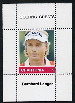Chartonia (Fantasy) Golfing Greats - Bernhard Langer perf deluxe sheet on thin glossy card unmounted mint
