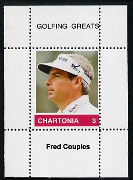 Chartonia (Fantasy) Golfing Greats - Fred Couples perf deluxe sheet on thin glossy card unmounted mint
