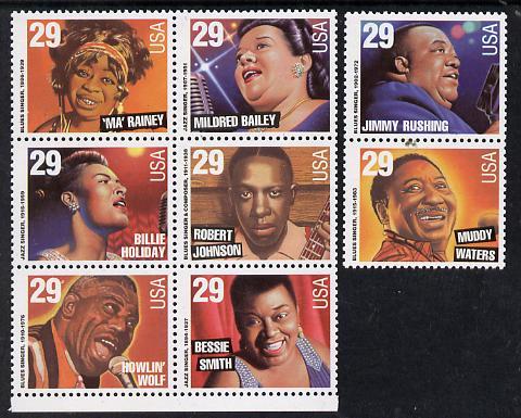 United States 1994 Jazz & Blues Music set of 8 unmounted mint SG 2936-43