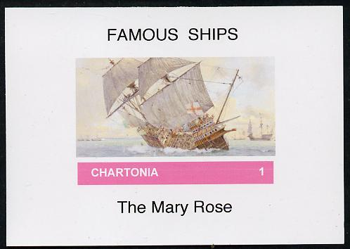 Chartonia (Fantasy) Famous Ships - Mary Rose imperf deluxe sheet on glossy card unmounted mint, stamps on ships, stamps on