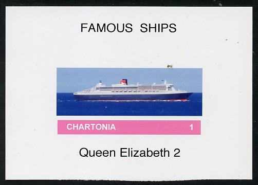 Chartonia (Fantasy) Famous Ships - Queen Elizabeth 2 imperf deluxe sheet on glossy card unmounted mint