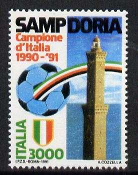Italy 1991 Sampdoria Football Championship 3000L unmounted mint SG 2128, stamps on football