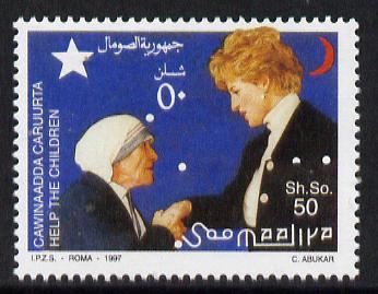 Somalia 1997 Help the Children - Mother Teresa & Princess Di 50Sh unmounted mint