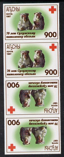 Abkhazia 1997 Monkeys & Red Cross imperf strip of 4 in tete-beche format unmounted mint