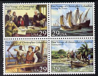 United States 1992 500th Anniversary of Discovery of America se-tenant block of 4 unmounted mint SG 2655a