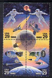 United States 1992 International Space day se-tenant block of 4 unmounted mint SG 2661a