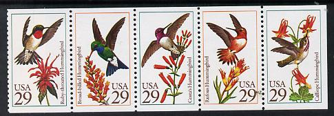 United States 1992 Mockingbirds se-tenant booklet pane of 5 unmounted mint SG 2672a