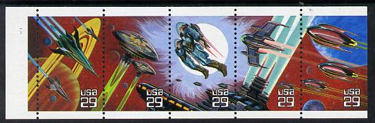 United States 1993 Space Fantasy se-tenant booklet pane of 5 unmounted mint SG 2770a