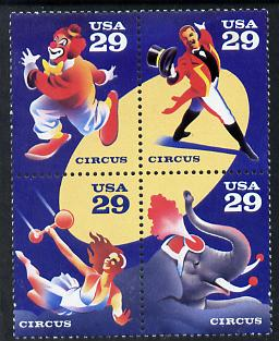 United States 1993 Circus Bicentenary se-tenant block of 4 unmounted mint SG 2784a