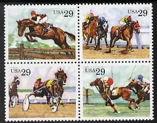 United States 1993 Equestrian Sports se-tenant block of 4 unmounted mint SG 2791a