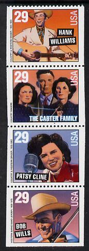 United States 1993 Country Music Stars se-tenant booklet pane of 4 unmounted mint SG 2819a
