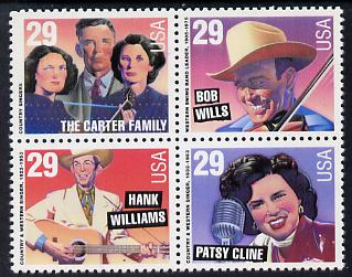 United States 1993 Country Music Stars se-tenant block of 4 unmounted mint SG 2815a