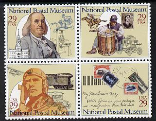 United States 1993 National Postal Museum se-tenant block of 4 unmounted mint SG 2839a