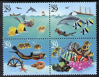 United States 1994 Wonders of the Seas se-tenant block of 4 unmounted mint SG 2944a