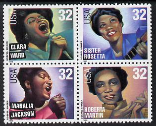 United States 1998 Gospel Music se-tenant block of 4 unmounted mint SG 3449a