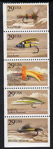 United States 1991 Fishing Flies booklet pane of 5 unmounted mint SG 2580a