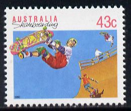 Australia 1989-94 Skateboarding 43c unmounted mint, from Sports def set of 19, SG 1181, stamps on sport, stamps on skateboarding