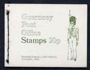 Booklet - Guernsey 1971 20p Booklet (Guernsey Light Infantry - Grenadiers) complete and pristine, SG B8