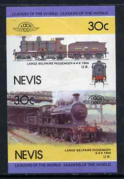 Nevis 1985 Locomotives #4 (Leaders of the World) Belpaire 4-4-0 30c se-tenant proof pair as issued but imperforate (as SG 299a) unmounted mint