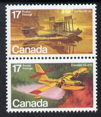 Canada 1979 Curtis HS-2L & Canadair CL-215 in se-tenant pair unmounted mint, from Canadian Aircraft (1st Series) SG 966a