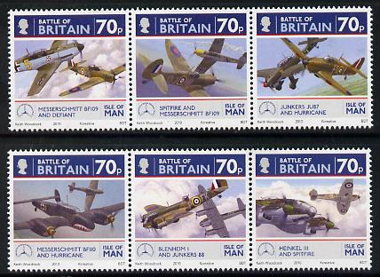 Isle of Man 2010 70th Anniversary of Battle of Britain perf set of 6 (2 se-tenant strips) unmounted mint SG 1584-89