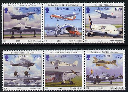 Isle of Man 2003 Centenary of Powered Flight perf set of 6 (2 se-tenant strips) unmounted mint SG 1067-72