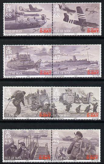 Isle of Man 2004 60th Anniversary of D-Day perf set of 8 (4 se-tenant pairs) unmounted mint SG 1131-38