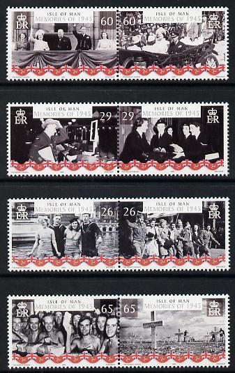 Isle of Man 2005 60th Anniversary of End of World War 2 perf set of 8 (4 se-tenant pairs) unmounted mint SG 1208-15