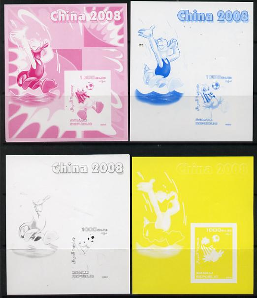 Somalia 2006 Beijing Olympics (China 2008) #01 - Donald Duck Sports - Football & Diving souvenir sheet - the set of 4 imperf progressive proofs comprising the 4 individual colours unmounted mint
