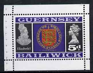 Booklet - Guernsey 1969 Arms & Elizabeth I 5d Booklet Pane (stamp with margins all round) SG 19a