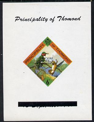 Thomond 1963 Humming Birds 6d (Diamond-shaped) deluxe sheet with 'In Memorium - J F Kennedy' overprint inverted unmounted mint