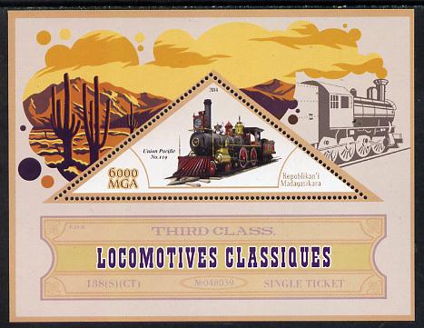 Madagascar 2014 Classic Locomotives - Union Pacific #119 perf s/sheet containing one triangular-shaped value unmounted mint