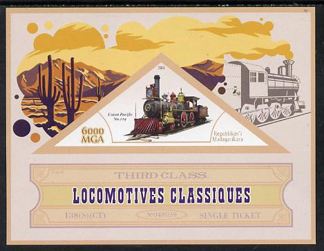 Madagascar 2014 Classic Locomotives - Union Pacific #119 imperf s/sheet containing one triangular-shaped value unmounted mint