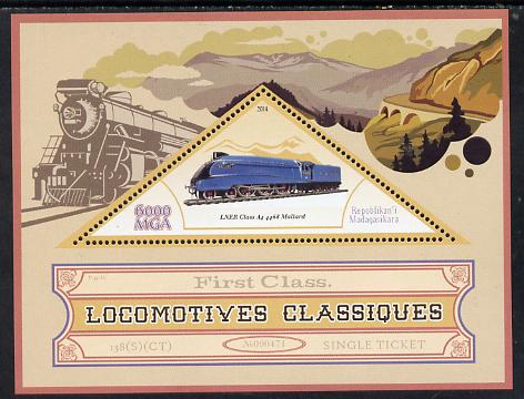 Madagascar 2014 Classic Locomotives - LNER A4 Pacific perf s/sheet containing one triangular-shaped value unmounted mint