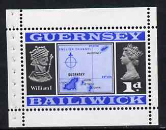 Booklet - Guernsey 1969 Map & William I 1d Booklet Pane (stamp with margins all round) SG 14c